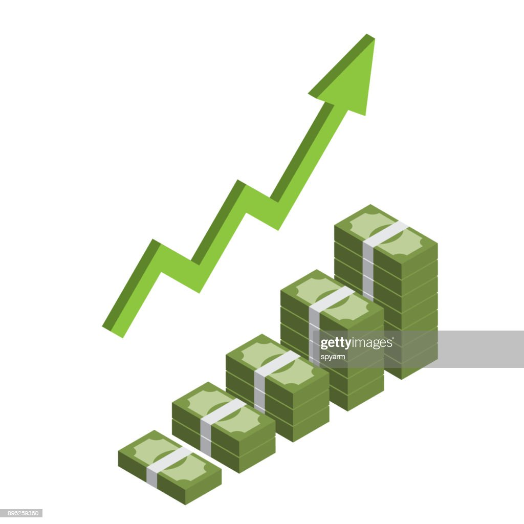 Increasing stack of isometric money with arrow, making profit, revenue growth