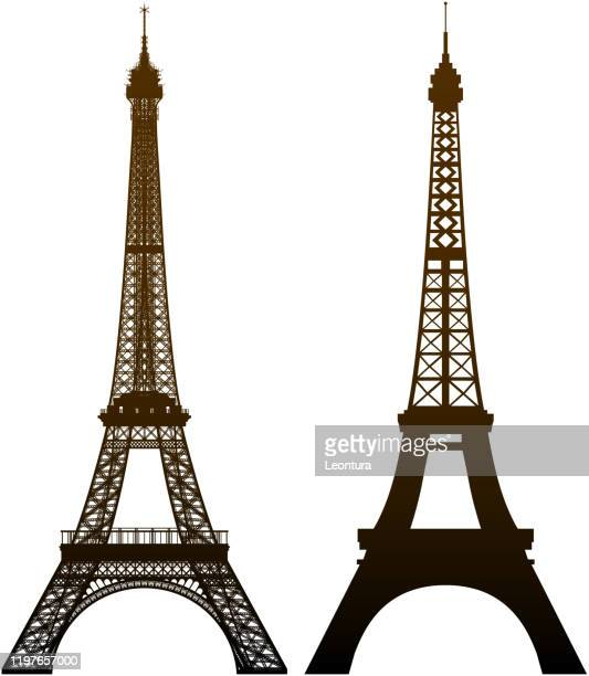 incredible detailed eiffel towers - eiffel tower paris stock illustrations