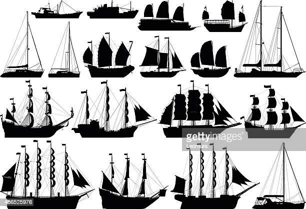 incredibly detailed boats - brigantine stock illustrations, clip art, cartoons, & icons