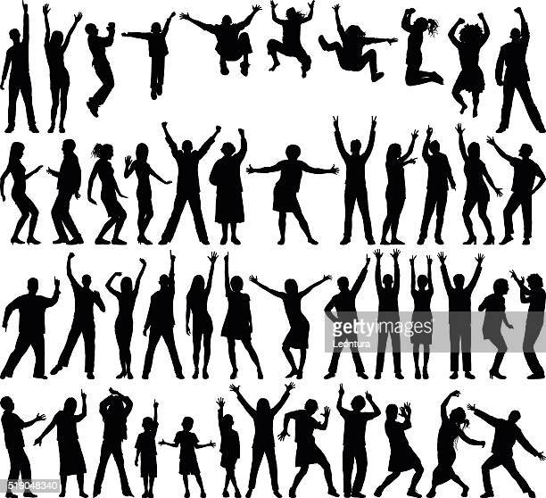 incredibly detailed happy people - dancing stock illustrations