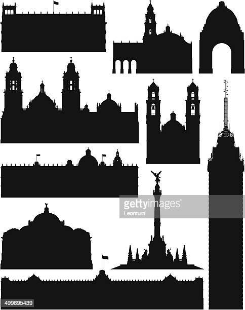 stockillustraties, clipart, cartoons en iconen met incredibly detailed mexico city monuments - mexico stad