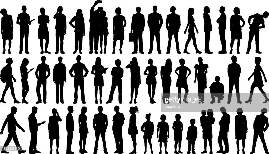 Incredibly Detailed People Silhouettes : stock vector