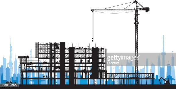 incredibly detailed scaffolding silhouette - foundation stock illustrations, clip art, cartoons, & icons