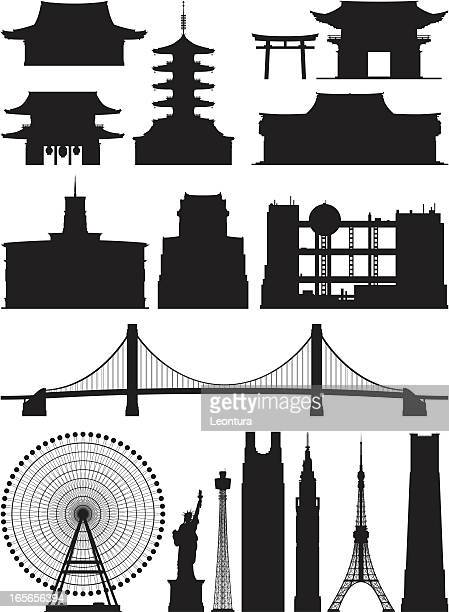 incredibly detailed tokyo buildings - tokyo japan stock illustrations, clip art, cartoons, & icons