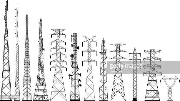 ilustraciones, imágenes clip art, dibujos animados e iconos de stock de siluetas muy detalladas tower - torres de telecomunicaciones