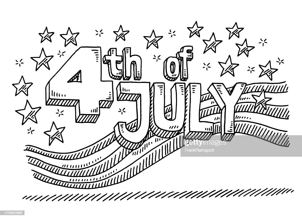 Independence Day 4th Of July Text Drawing