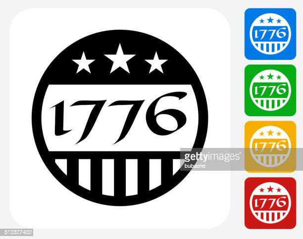 1776 independence day icon flat graphic design - declaration of independence stock illustrations, clip art, cartoons, & icons
