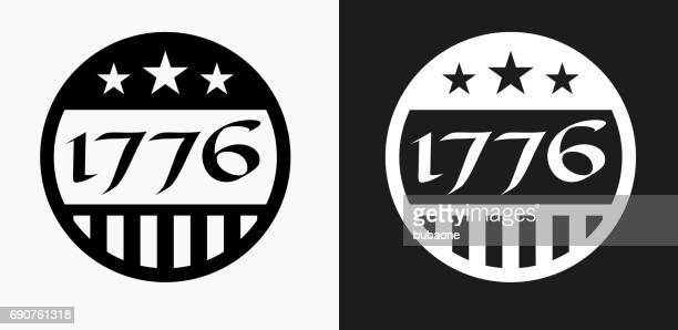 1776 independence day icon on black and white vector backgrounds - declaration of independence stock illustrations, clip art, cartoons, & icons