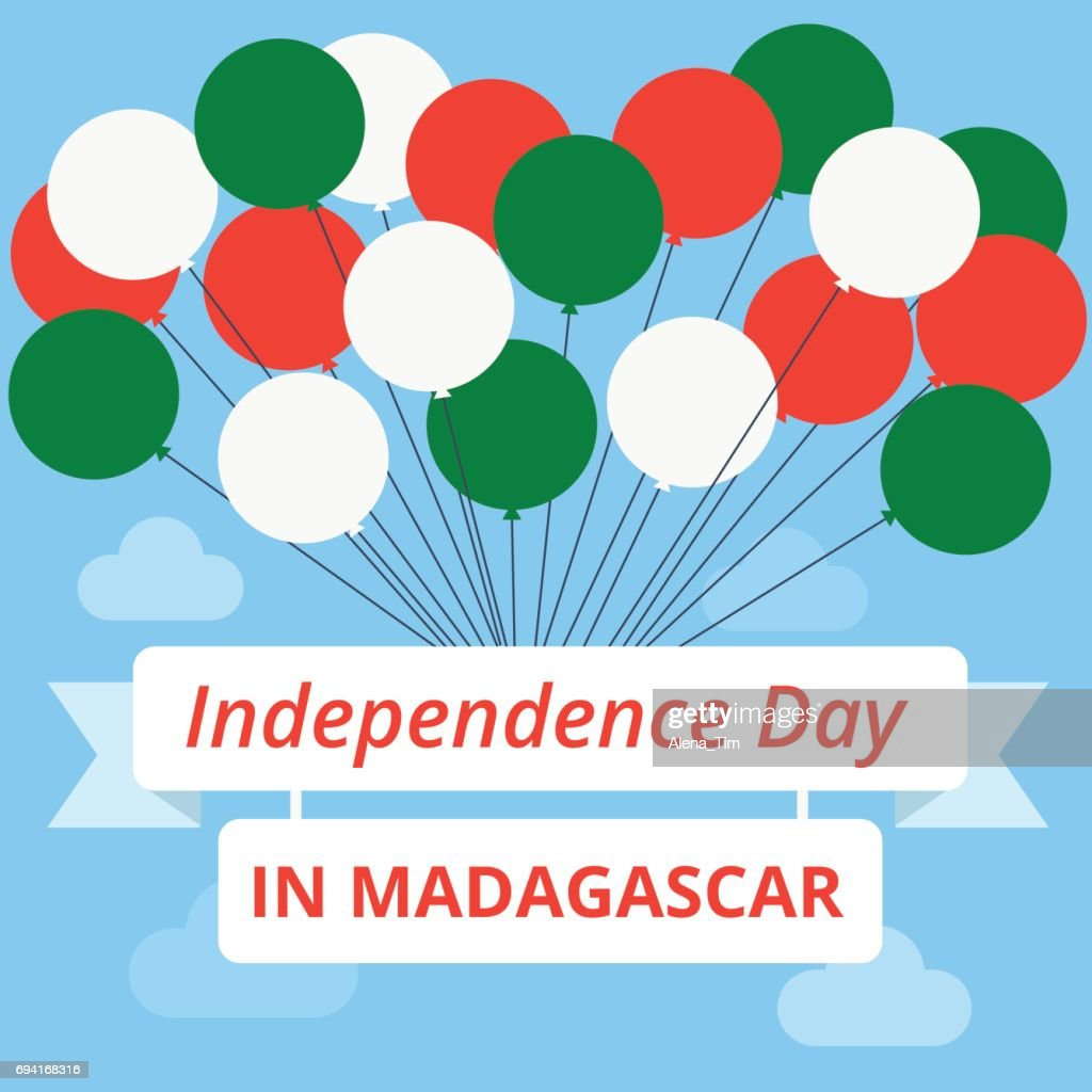 Independence Day in Madagascar. Vector illustration. Balls of the color of the flag and the emblem with the inscription.