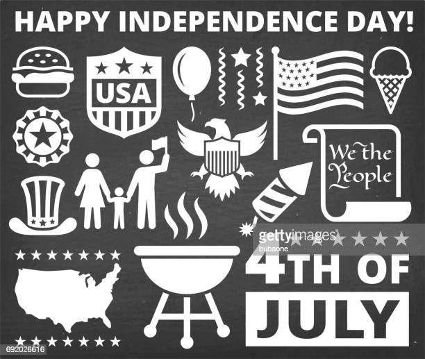 independence day july 4th icons on chalk board background - declaration of independence stock illustrations, clip art, cartoons, & icons