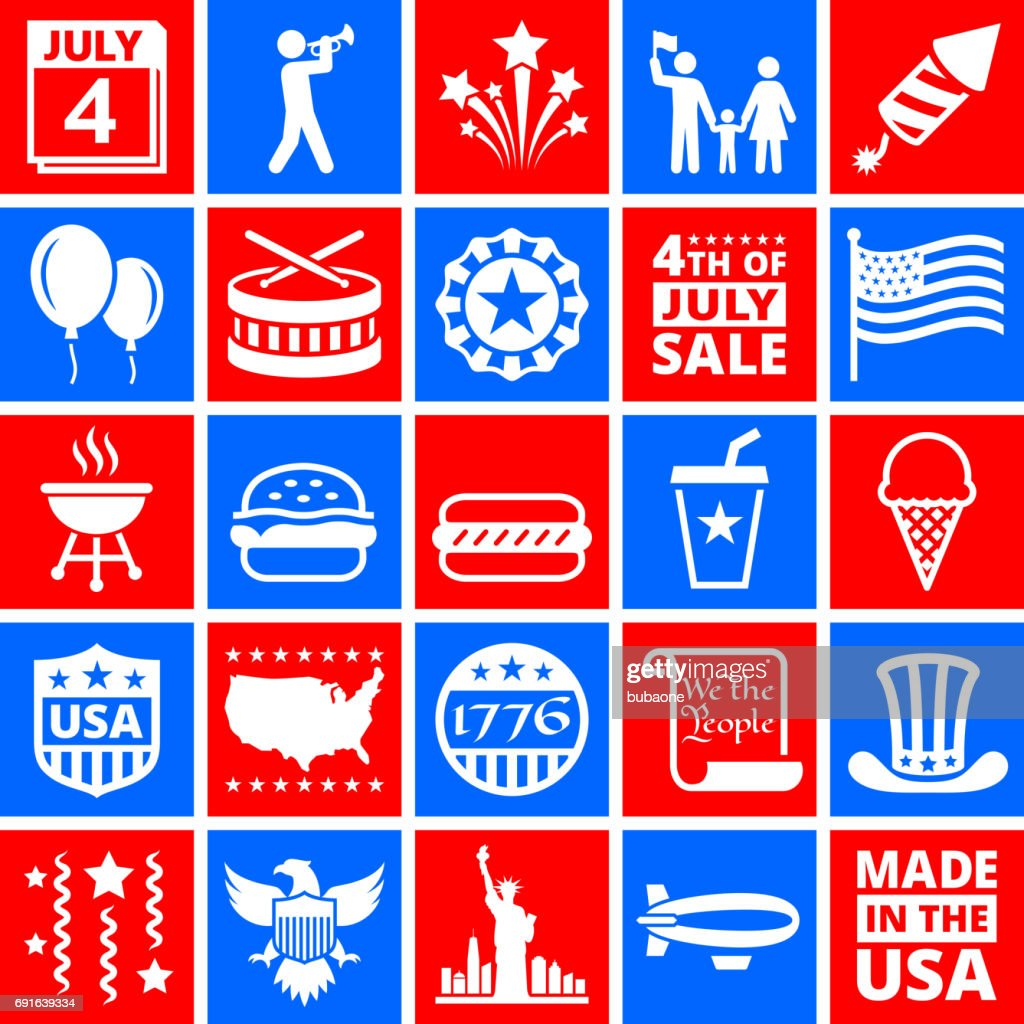 Independence Day July 4th Icons on Red and Blue Buttons : stock illustration