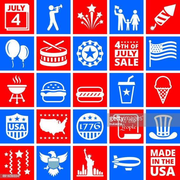 independence day july 4th icons on red and blue buttons - declaration of independence stock illustrations
