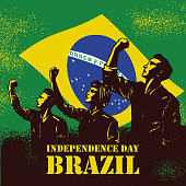 Independence Day of Brazil banner, Illustration of people raising fists on flag of Brazil as a background.