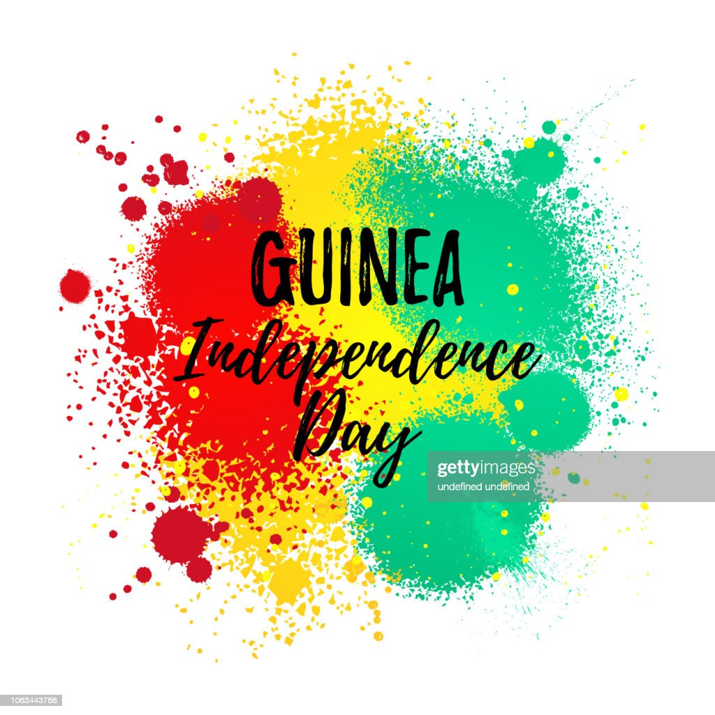 Independence Day of Guinea grungy banner. Hand Drawn National Flag of Equatorial Guinea
