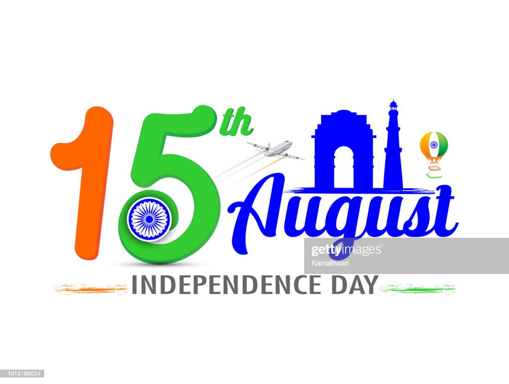 Independence day of India. 15 August. with India Gate Vector illustration