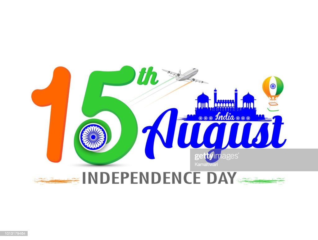 Independence day of India. 15 August. with Red Fort Vector illustration