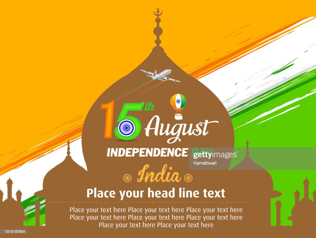 Independence day of India. 15 August. with Taj Mahal Vector illustration
