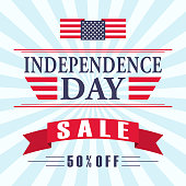 USA independence day sale background with american flag, ribbon and lettering. Vector EPS 10.