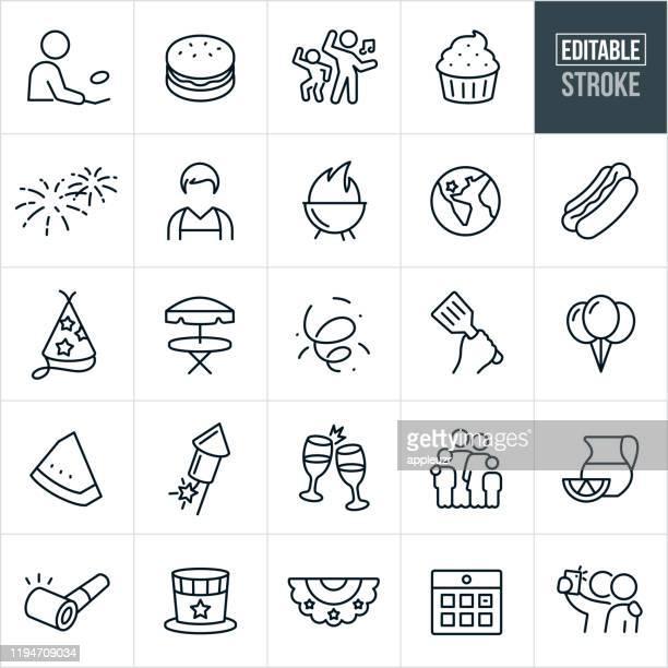 independence day thin line icons - editable stroke - nur erwachsene stock-grafiken, -clipart, -cartoons und -symbole