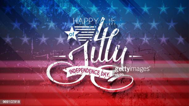 independence day usa background with lettering 4 july for design of card, flyer, poster - july stock illustrations
