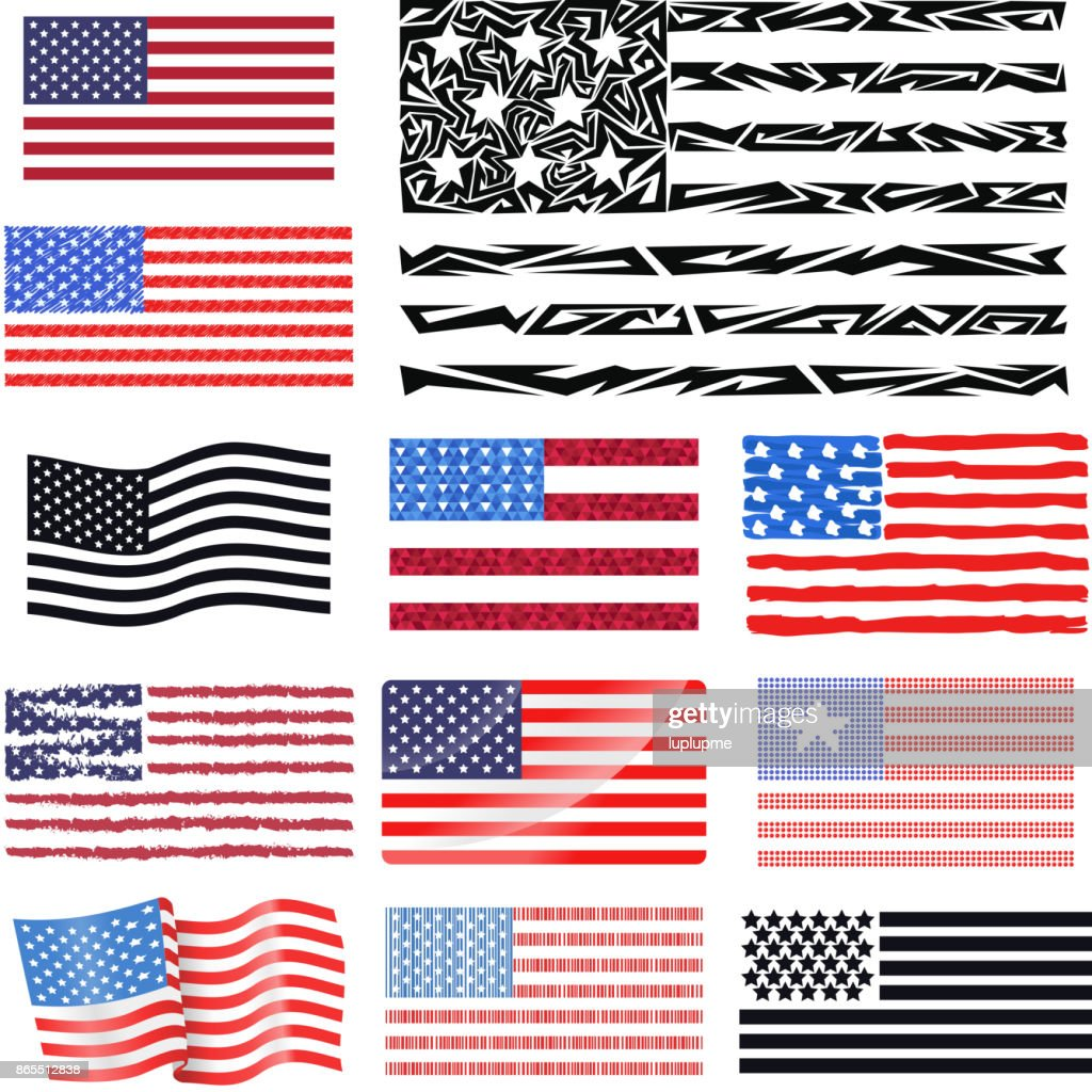 Independence day USA flags United States american symbol freedom national sign vector illustration