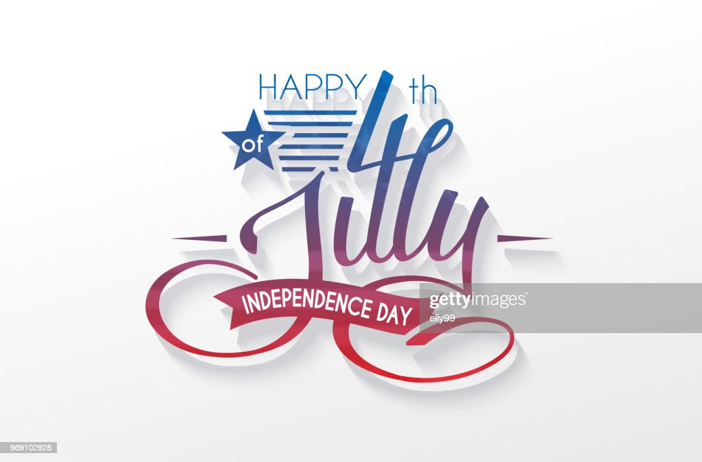 Independence Day USA lettering 4 july for design of card, flyer, poster : stock illustration