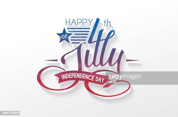 Independence Day USA lettering 4 july for design of card, flyer, poster