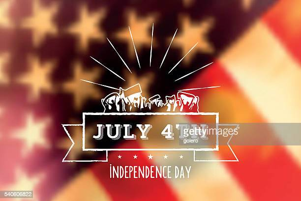 independence day vintage sign on blurred us flag