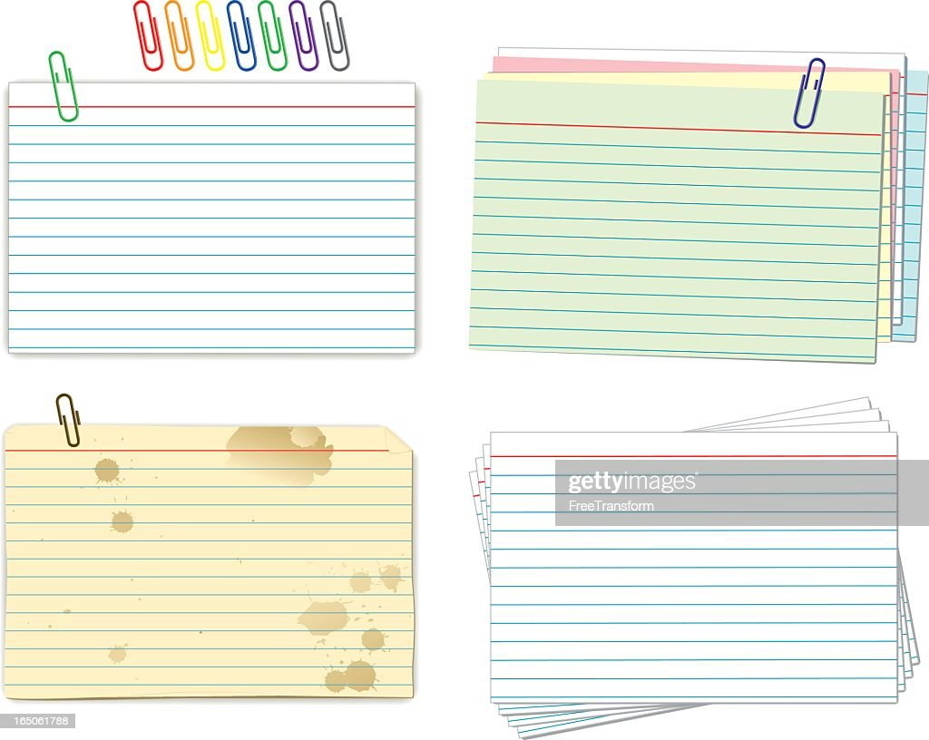 Index cards and paper clips samples