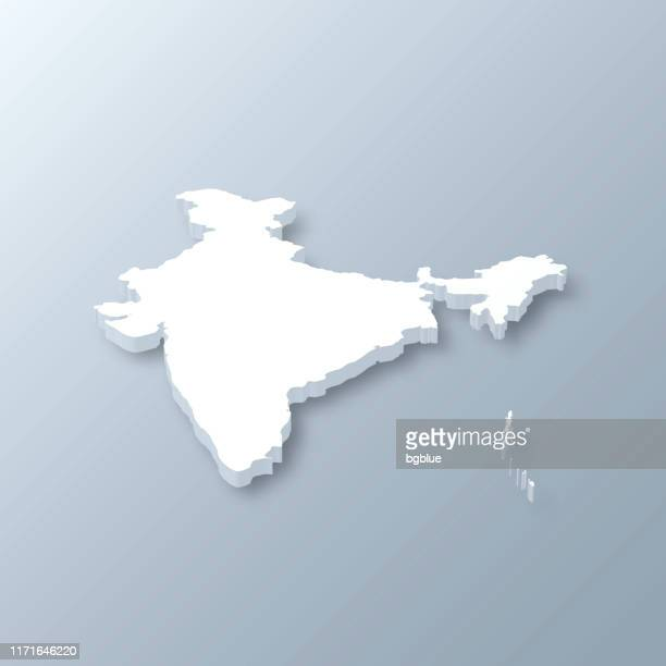 india 3d map on gray background - india stock illustrations