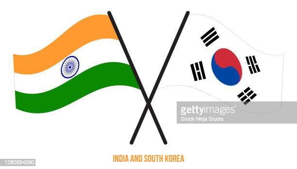 india south korea flags crossed waving