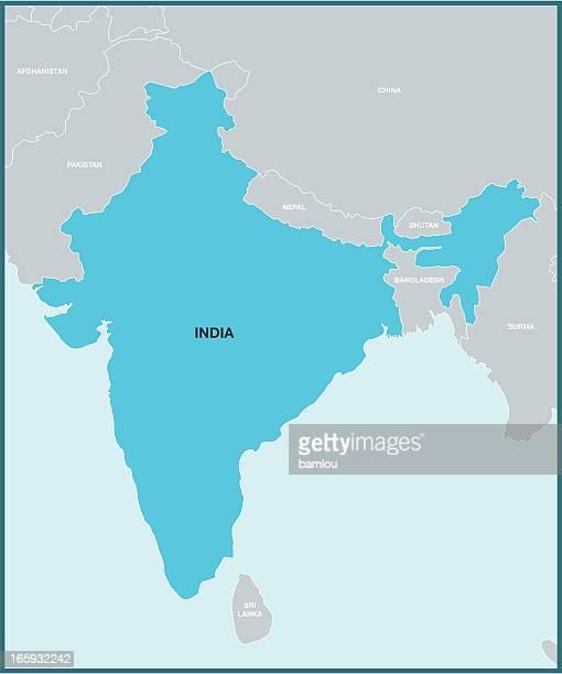 indien karte und umgebung - nepal stock-grafiken, -clipart, -cartoons und -symbole