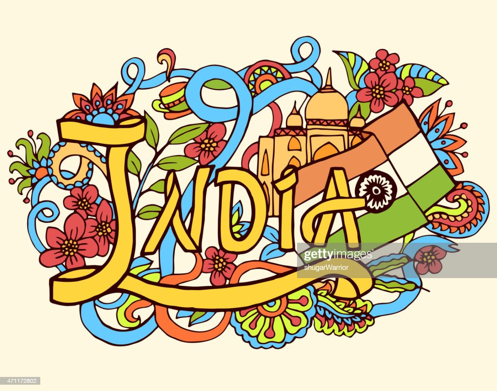 India art abstract hand lettering and doodles elements background