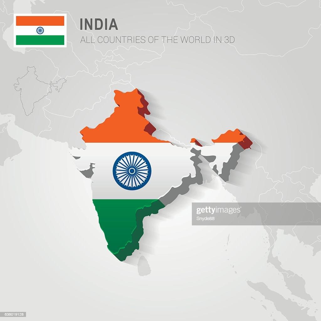 India. Asia administrative map.