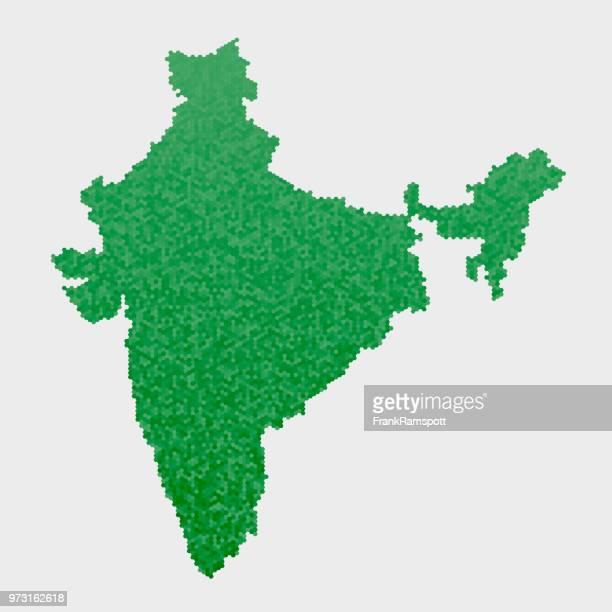Indien-Land-Map-grünen Sechseck-Muster