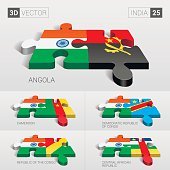 India Flag. 3d vector puzzle. Set 25.