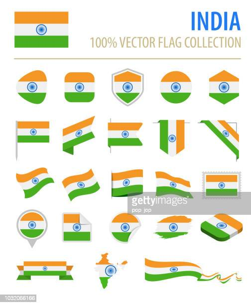 India - Flag Icon Flat Vector Set