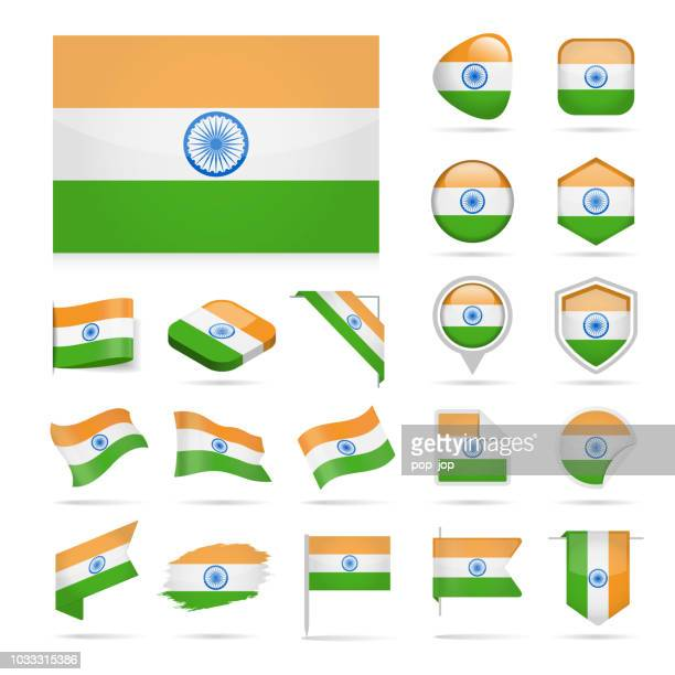 India - Flag Icon Glossy Vector Set