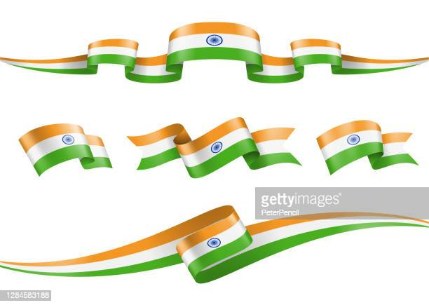 india flag ribbon set - vector stock illustration - indian flag stock illustrations