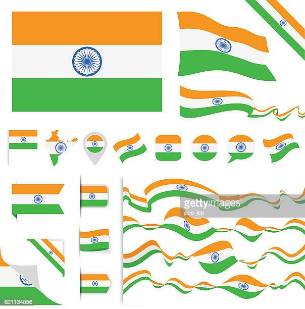 india flag set - indian flag stock illustrations