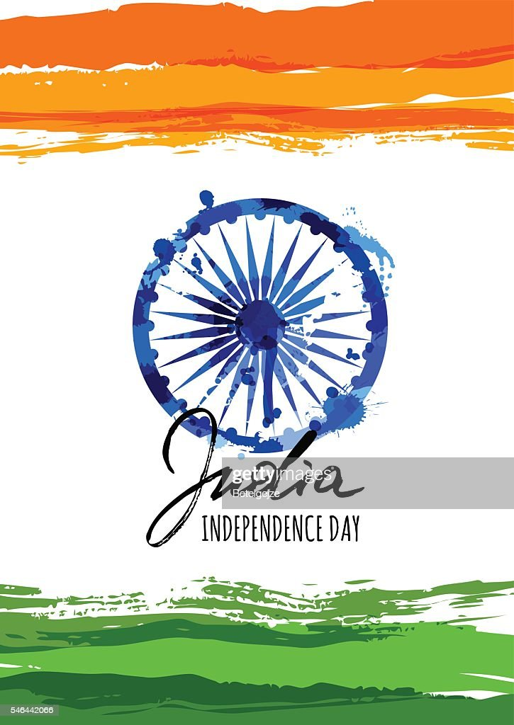 India flag vector illustration with hand drawn calligraphy lettering.