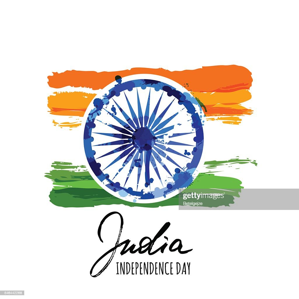 India flag vector isolated illustration with hand drawn calligraphy lettering.
