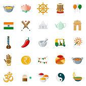 India Flat Design Icon Set