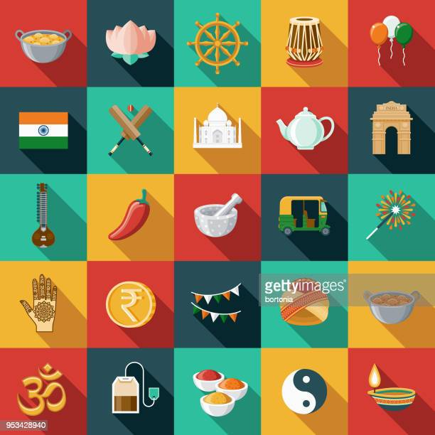 india flat design icon set with side shadow - unesco world heritage site stock illustrations