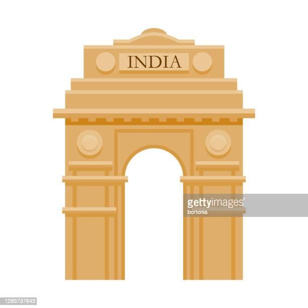 india gate icon on transparent background - new delhi stock illustrations
