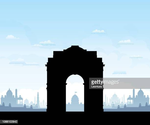 india gate (all buildings are separate and complete) - delhi stock illustrations