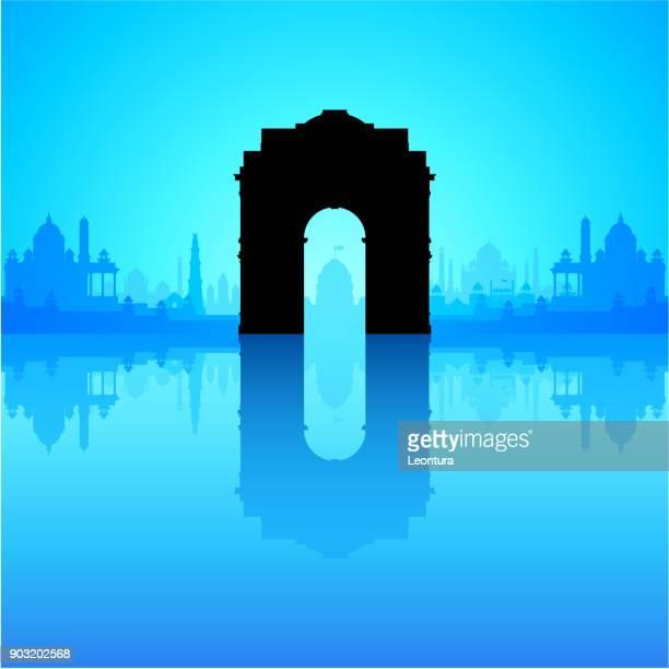 ilustrações, clipart, desenhos animados e ícones de porta de india (todos os edifícios são separadas e completa) - taj mahal