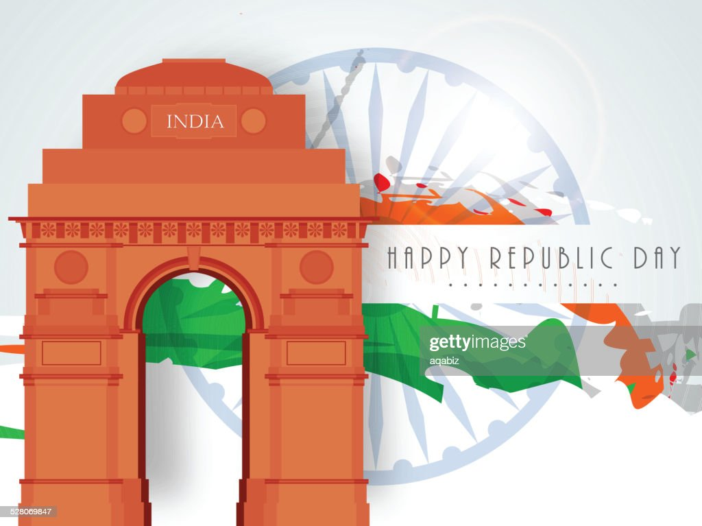 India gate with Ashoka Wheel for Indian Republic Day Celebration.