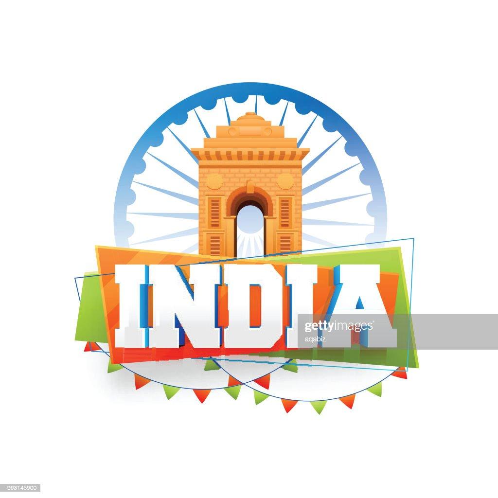India Gate with stylish text India on Ashoka Wheel, white background.