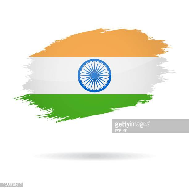 india - grunge flag vector glossy icon - indian flag stock illustrations